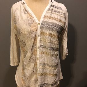 Tops - Metallic Embroidery Button Down